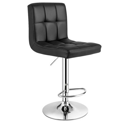 Costway Adjustable Armless Bar Stool Swivel Kitchen Counter Bar Chair PU Leather Black