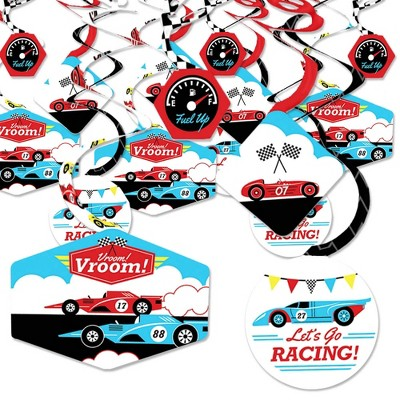 Big Dot of Happiness Let's Go Racing - Racecar - Race Car Birthday Party or Baby Shower Hanging Decor - Party Decoration Swirls - Set of 40