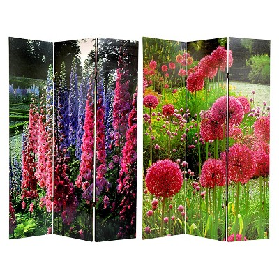 6 ft. Tall Floral Double Sided Room Divider - Oriental Furniture