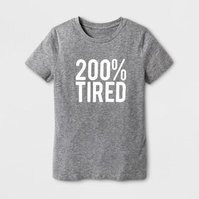 Women's Short Sleeve 200% Tired Graphic T-Shirt - Gray M