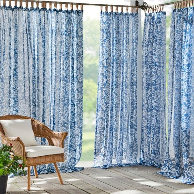 Verena Floral Indoor/Outdoor Sheer Tab Top Window Curtain for Patio, Pergola, Porch, Cabana, Deck - Elrene Home Fashions