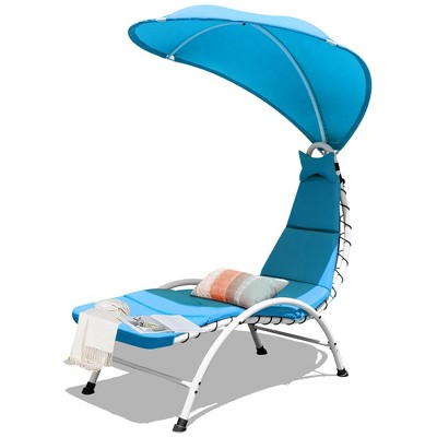 Costway Hanging Chaise Lounge Chair Swing Cushion W/Canopy Orange\Beige\Turquoise