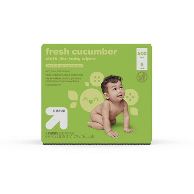 Fresh Cucumber Cloth-like Baby Wipes - 5pk/500ct Total - up & up™