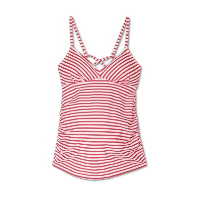 Maternity Striped Strappy Back Tankini Top - Isabel Maternity by Ingrid & Isabel™ Red/White
