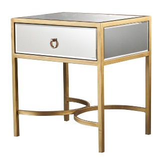Siryen Modern Side Table Mirrored Gold - Christopher Knight Home
