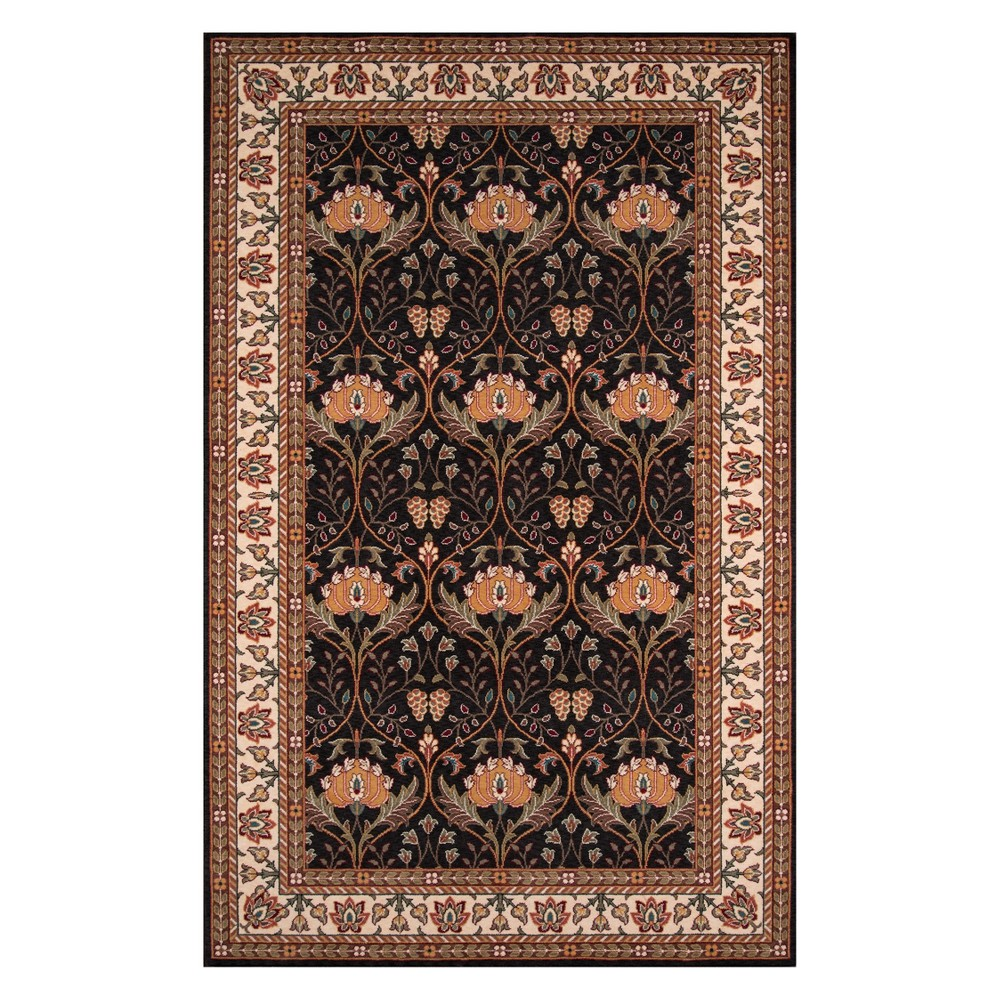 5'X8' Floral Loomed Area Rug Charcoal (Grey) - Momeni