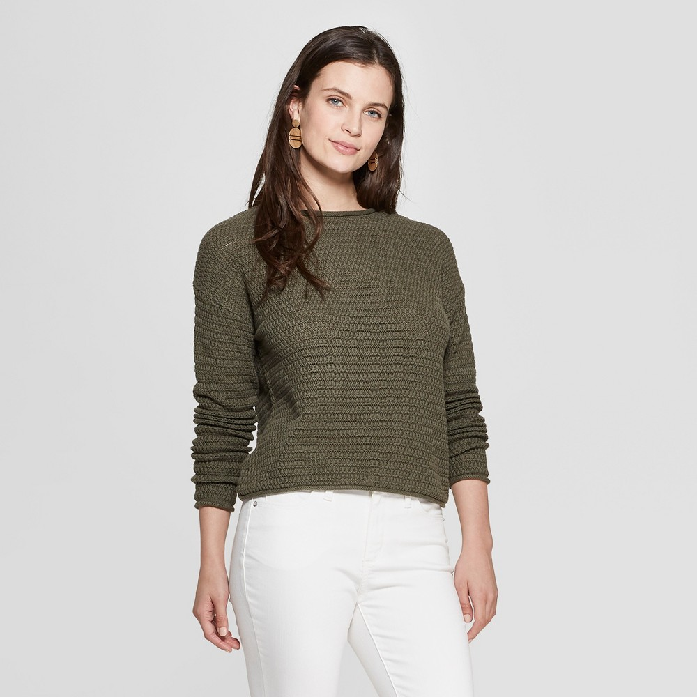 Women's Open Stitch Pullover Sweater - Universal Thread Olive (Green) S