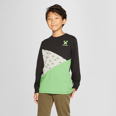 Boys' Minecraft Long Sleeve T-Shirt - Green/Gray/Black - image 1 of 3