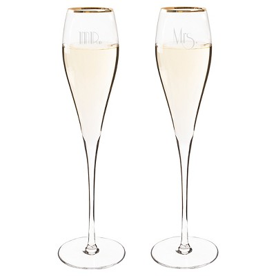2ct Mr. & Mrs. Gatsby Gold Rim Champagne Flutes