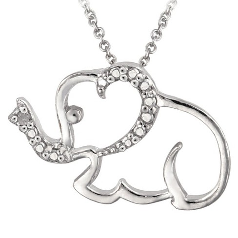 "Sterling Silver Diamond Accented Elephant Necklace 18"" - image 1 of 1"