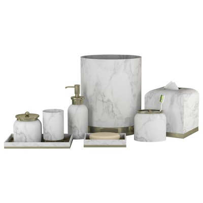 8pc Misty Bath Accessory Set for Vanity Counter Tops Silver - Nu Steel