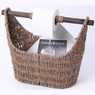 Vintiquewise Free Standing Magazine and Toilet Paper Holder Basket with Wooden Rod