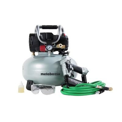 Metabo HPT KNT50ABM 18 Gauge Brad Nailer and 1 HP 6 Gallon Oil-Free Pancake Compressor Finish Combo Kit Manufacturer Refurbished