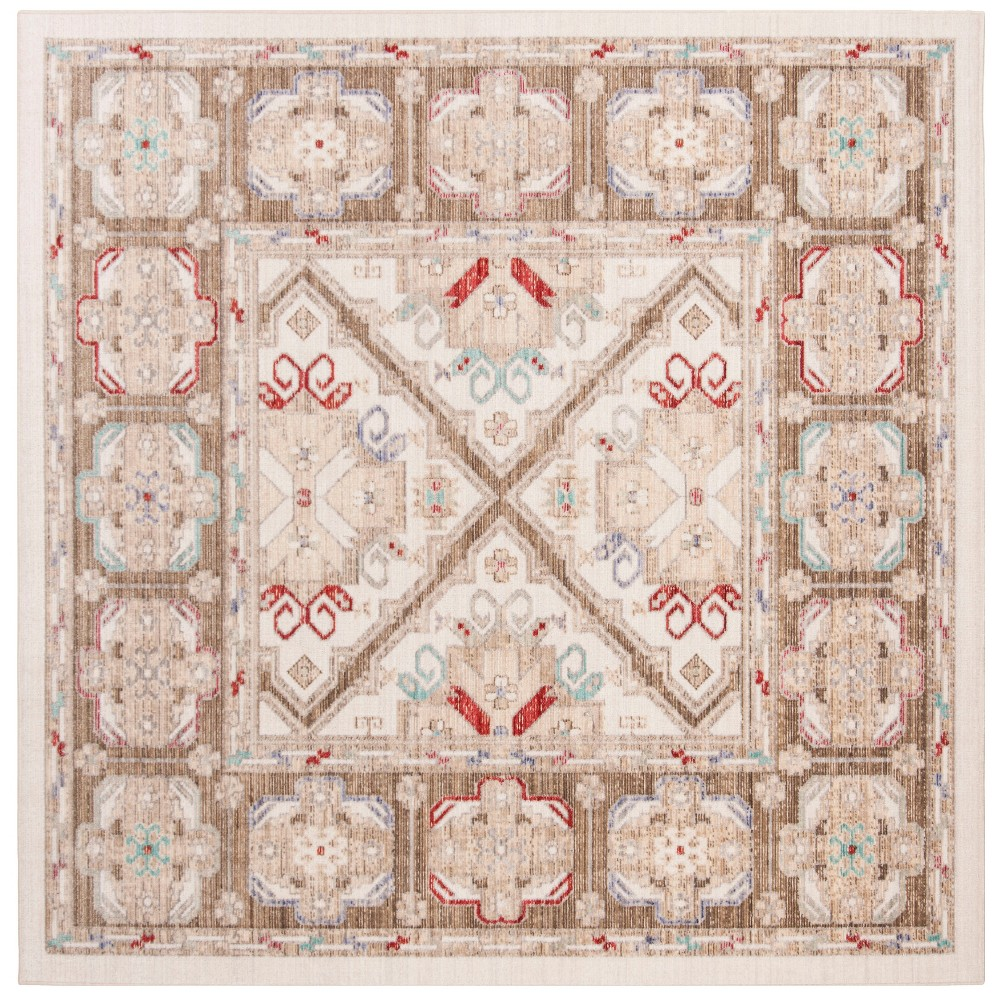 6'X6' Medallion Loomed Square Area Rug Ivory/Brown - Safavieh, White