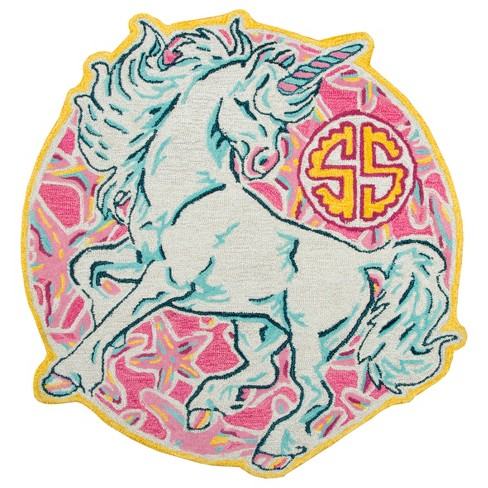 3'X3' Tufted Unicorn Round Accent Rug Pink - Rizzy Home - image 1 of 4