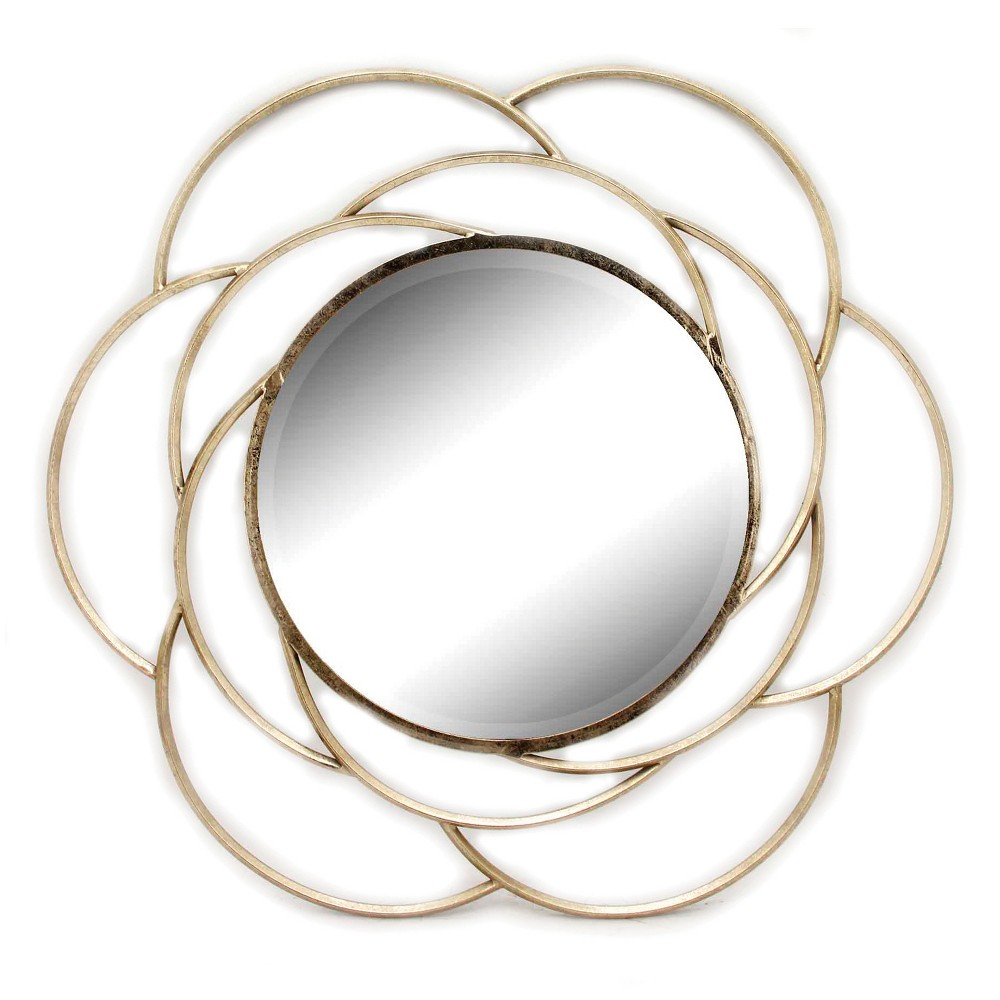 "Image of ""35.4""""x35.4"""" Round Decorative Wall Mirror Gold - Home Source"""