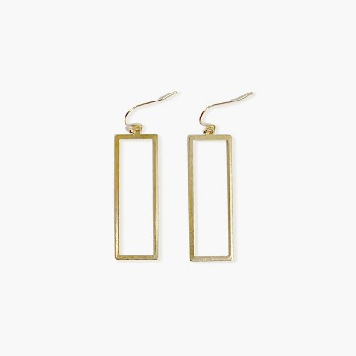 Sanctuary Project Statement Rectangle Frame Drop Earrings Gold