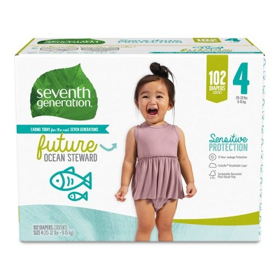 Seventh Generation Sensitive Protection Diapers Giant Pack - Size 4 - 102ct