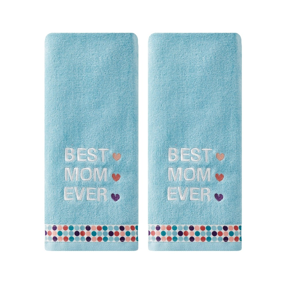 Image of 2pc Best Mom Ever Hand Towel Set Aqua - SKL Home, Blue