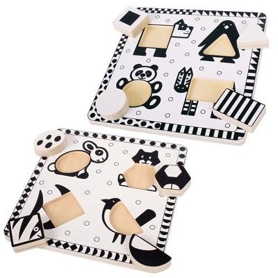 Bigjigs Toys Black and White Animal Puzzle Set  - Set of 2