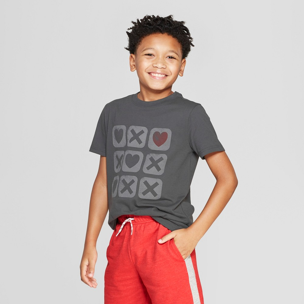 Boys' Short Sleeve Graphic T-Shirt - Cat & Jack Charcoal Gray M