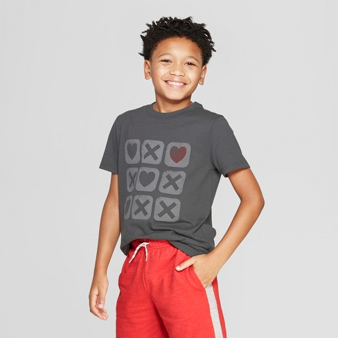 Boys' Short Sleeve Graphic T-Shirt - Cat & Jack™ Charcoal Gray - image 1 of 3