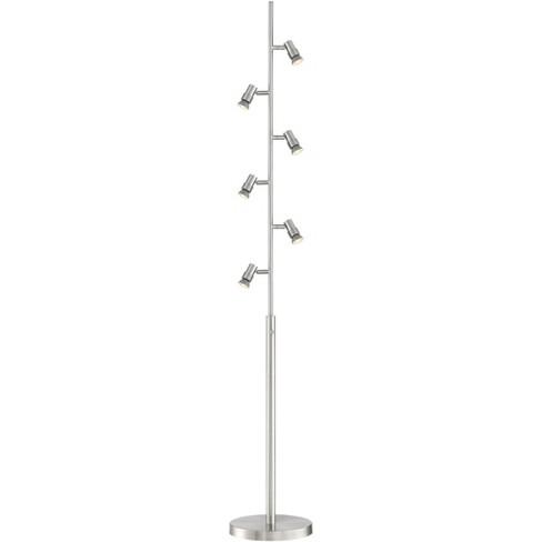 Possini Euro Design Modern Floor Lamp LED 6-Light Tree Brushed Nickel Adjustable Bullet Heads Living Room Reading Bedroom Office - image 1 of 4