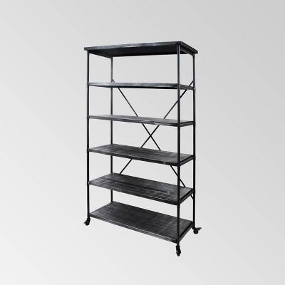"68"" Farrells Industrial 5 Shelf Bookcase Gray - Christopher Knight Home"