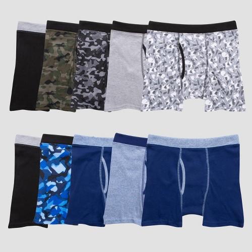 Hanes Boys' 10pk Camo Soft Comfort Boxer Briefs - Colors Vary M, Green