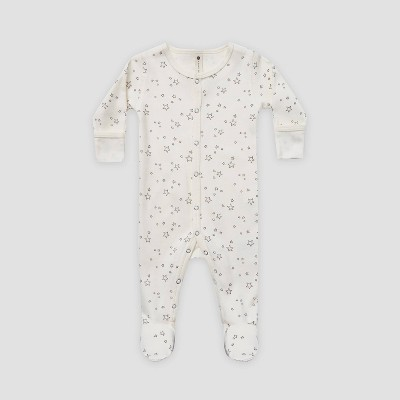 Q by Quincy Mae Baby Star Brushed Jersey Footed Pajama - Ivory 12-18M