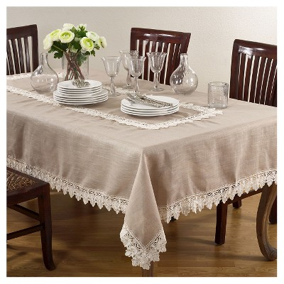 Taupe Lace Trimmed Tablecloth (65 x104 )- Saro Lifestyle
