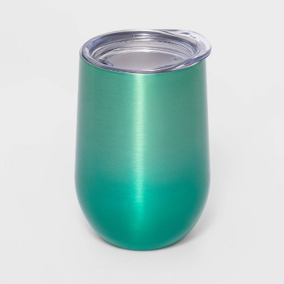 11oz Stainless Steel Wine Tumbler with Lid Ombre Green - Sun Squad™