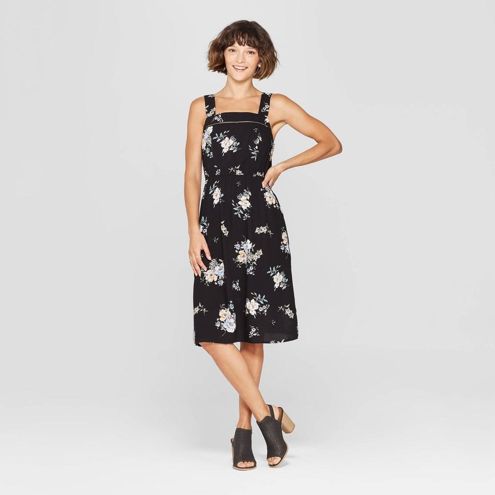 Women's Floral Print Strappy Square Neck Midi Dress - Xhilaration Soft Black XS
