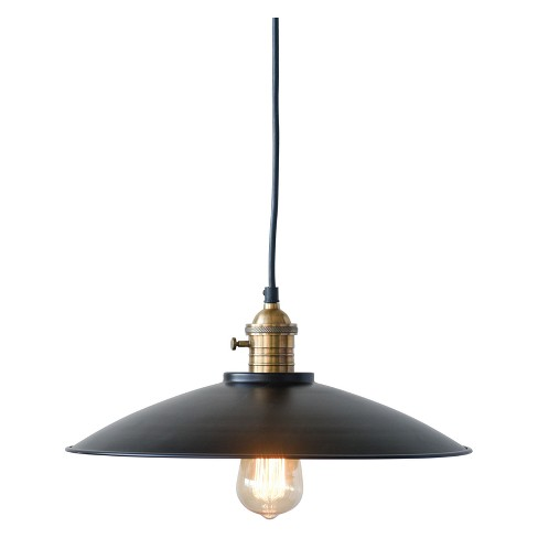 "Round Metal Pendant Lamp Brass 15"" - 3R Studios - image 1 of 2"