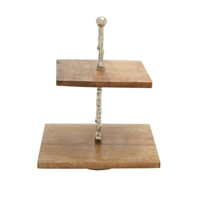 Tiered Serving Tray - Light Brown Wood - Olivia & May