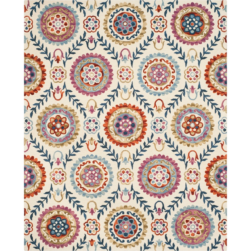 8'X10' Floral Hooked Area Rug Ivory - Safavieh, Ivory/Multi-Colored