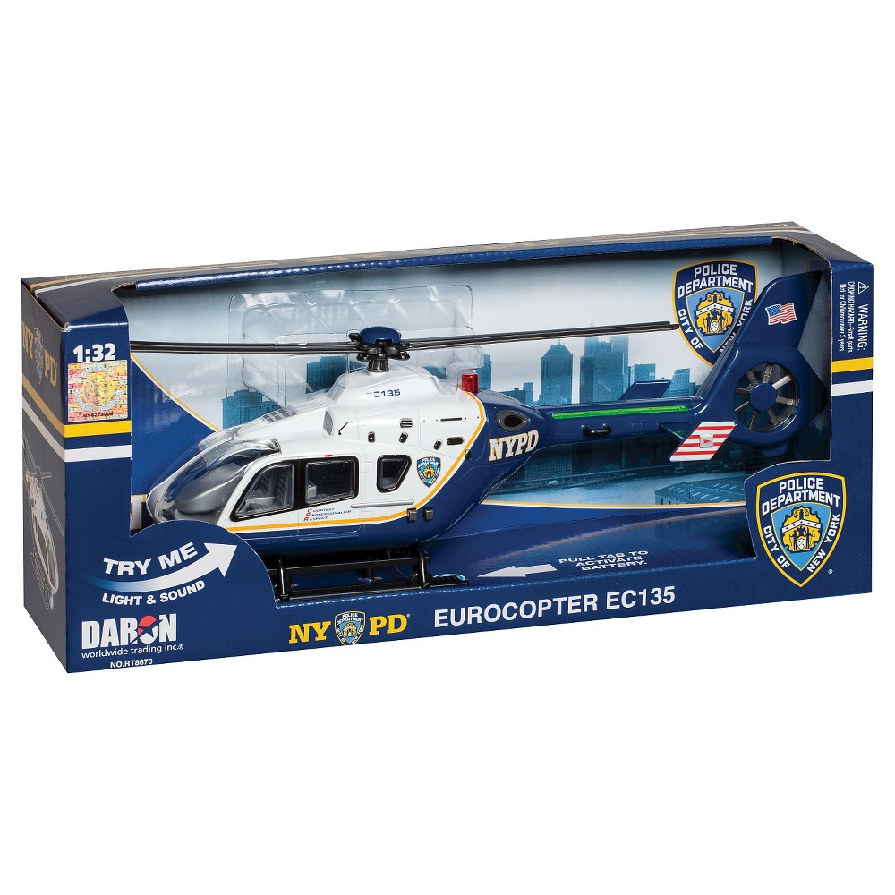 Daron Police Department City of New York Helicopter with Lights & Sound (NYPD) NYPD Police Helicopter has realistic sounds and lights. Tons of fun for the whole family. Take your imagination to new hieghts with this helicopter. Officially liscensed by the NYPD. Batteries Included. Measures 11  long. Gender: unisex.