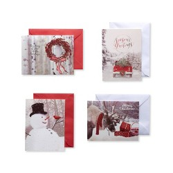 20ct American Greetings Christmas Outdoor Photos Assorted Boxed Greeting Cards and White Envelopes