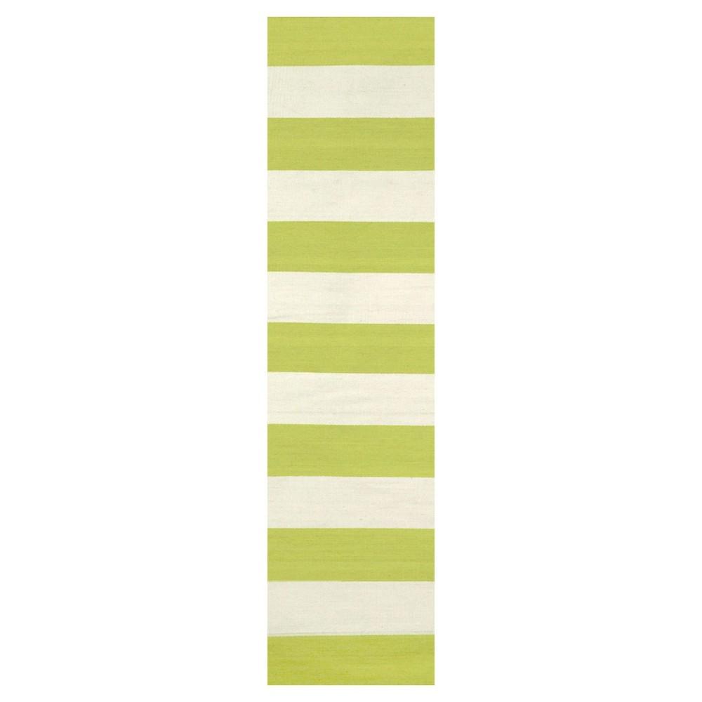 Green Stripe Woven Runner - (2'x8') - Liora Manne, Flourescent Green