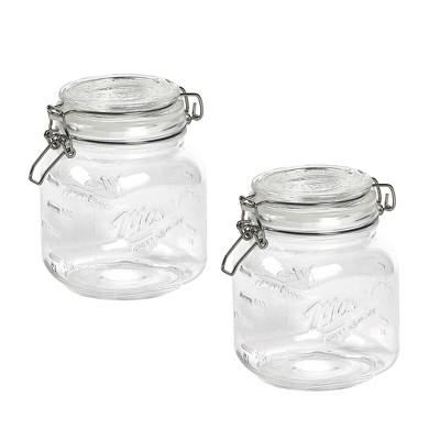 Mason Craft & More 1L Set of 2 Vintage Clamp Jars