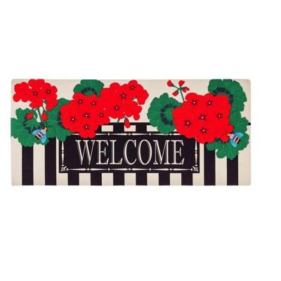 Evergreen Geranium Welcome Sassafrass Decorative Mat Insert, 10 x 22 inches