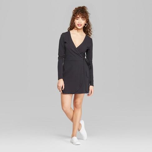 1d8753966b4 Women s Long Sleeve Knit Wrap Dress - Wild Fable™ Black XXL   Target