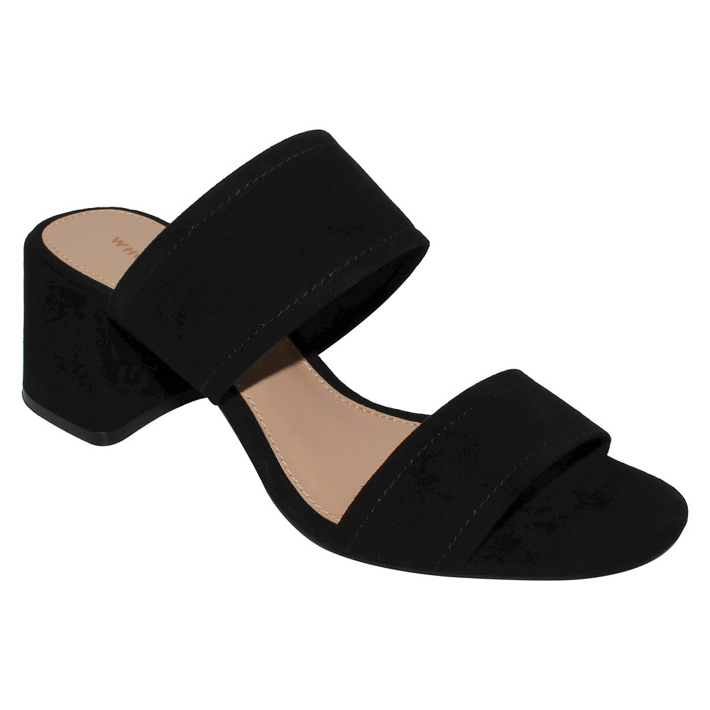 Women's Carolina Double Band Block Heel Slide Sandals - Who What Wear Black 11