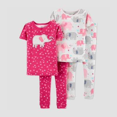 Baby Girls' 4pc Elephant & Hearts 100% Cotton Short Sleeve Pajama Set - Just One You® made by carter's Pink 12M