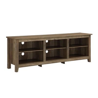 70  Wood Media TV Stand Storage Console Rustic Oak - Saracina Home