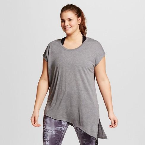2029e8e5b33ab Women s Plus-Size Active Side-Tie T-Shirt - C9 Champion® Black Heather 2X