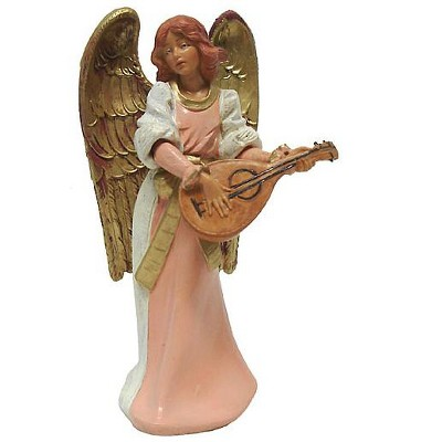"Roman 6"" Pink and Gold Eva Angel with Mandolin Christmas Nativity Figurine"