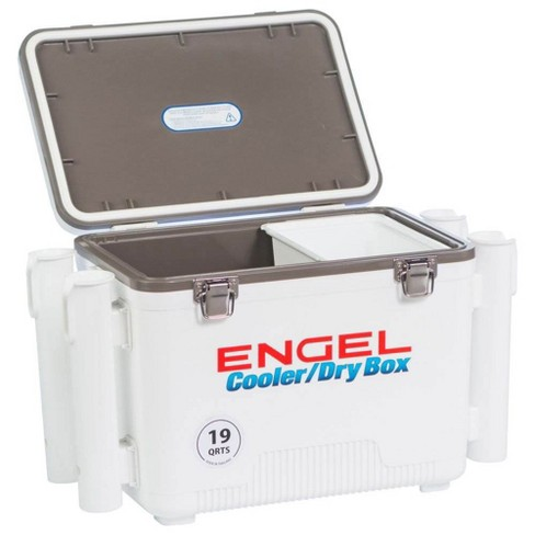 Engel 19 Quart Fishing Rod Holder Attachment Insulated Dry Box Ice Cooler White Target