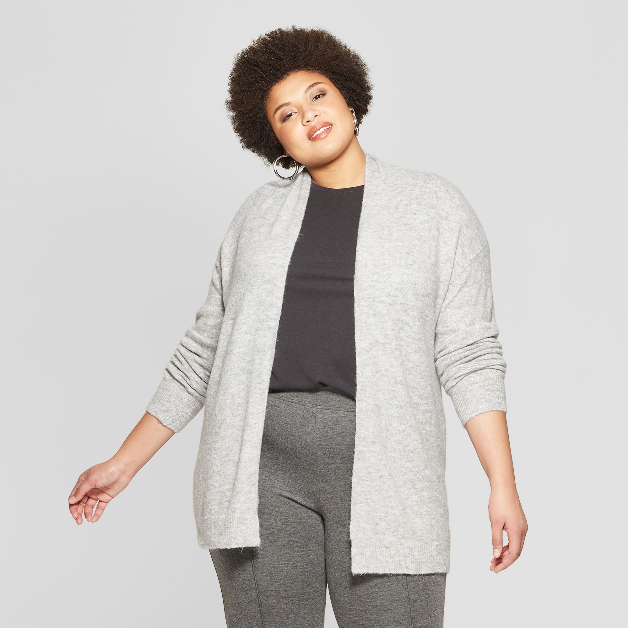 Women's Plus Size Long Sleeve Open Layering Cardigan - Ava & Viv Heather Gray X