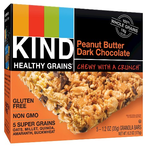KIND Healthy Grains® Peanut Butter Dark Chocolate Chunk, Gluten Free Granola Bars - 5ct - image 1 of 2